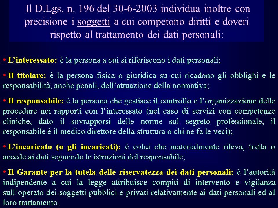 Il D.Lgs. n. 196 del 30-6-2003 individua inoltre con precisione i soggetti a cui competono diritti e doveri rispetto al trattamento dei dati personali: