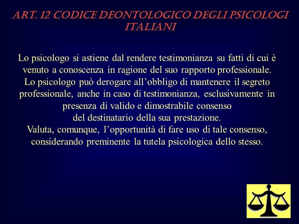 Art. 12 Codice Deontologico degli Psicologi italiani