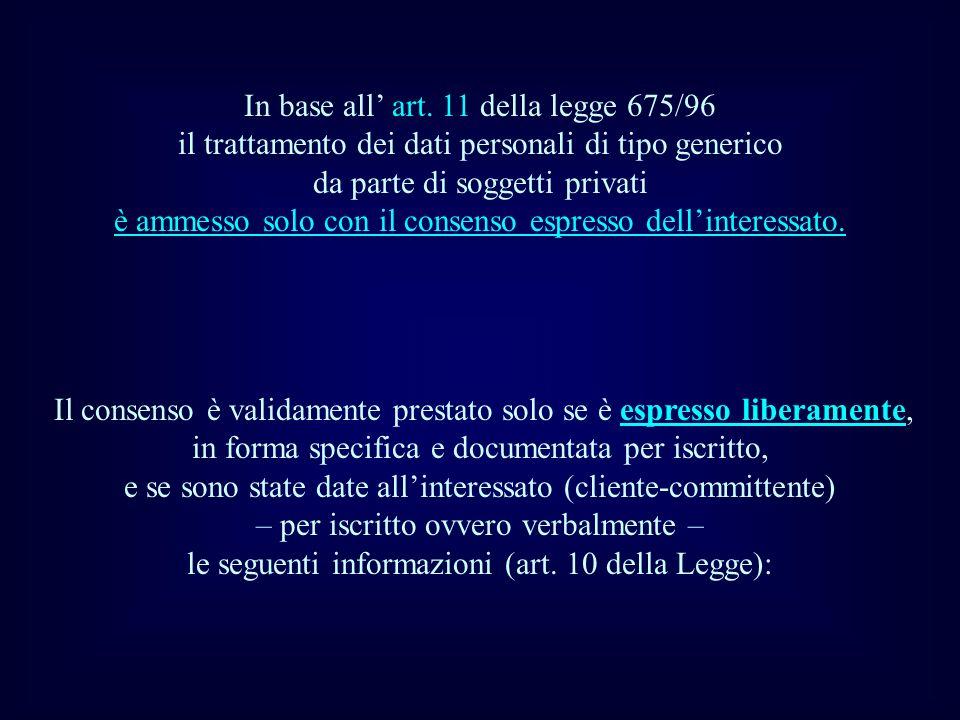 In base all' art. 11 della legge 675/96 il trattamento dei dati personali di tipo generico da parte di soggetti privati è ammesso solo con il consenso espresso dell'interessato.