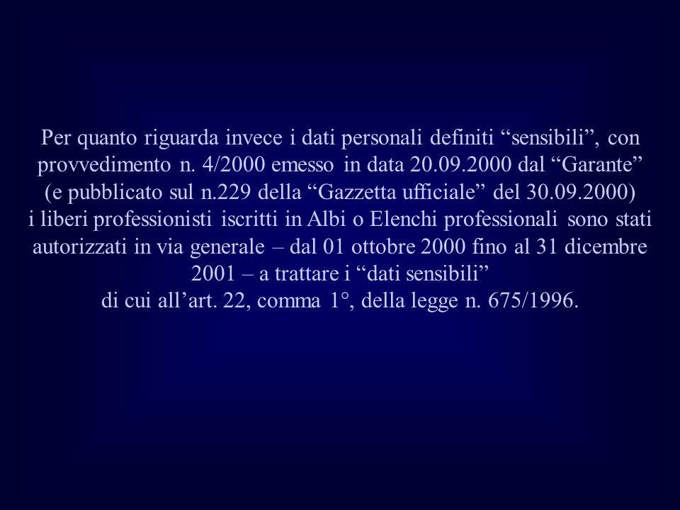 Per quanto riguarda invece i dati personali definiti sensibili , con provvedimento n.