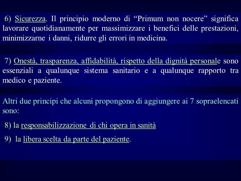 6) Sicurezza. Il principio moderno di Primum non nocere significa lavorare quotidianamente per massimizzare i benefici delle prestazioni, minimizzarne i danni, ridurre gli errori in medicina.