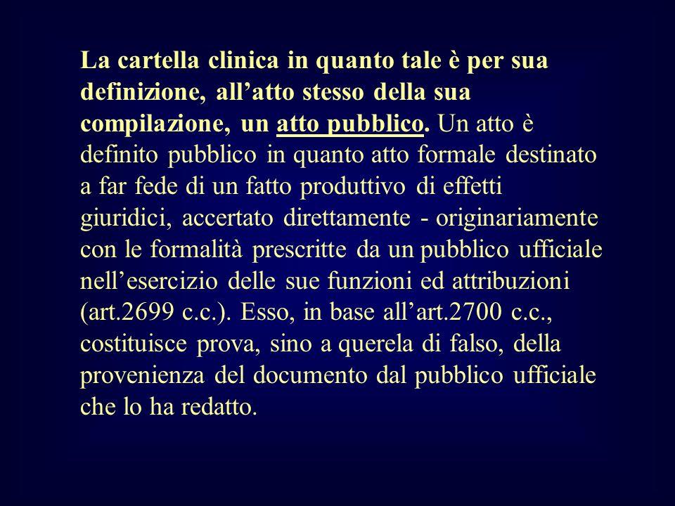 La cartella clinica in quanto tale è per sua definizione, all'atto stesso della sua compilazione, un atto pubblico.