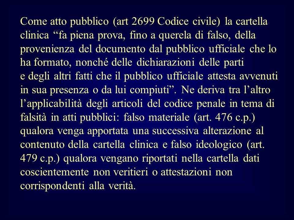 Come atto pubblico (art 2699 Codice civile) la cartella clinica fa piena prova, fino a querela di falso, della