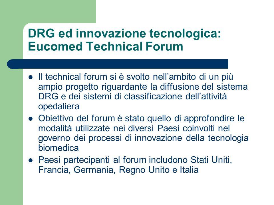 DRG ed innovazione tecnologica: Eucomed Technical Forum