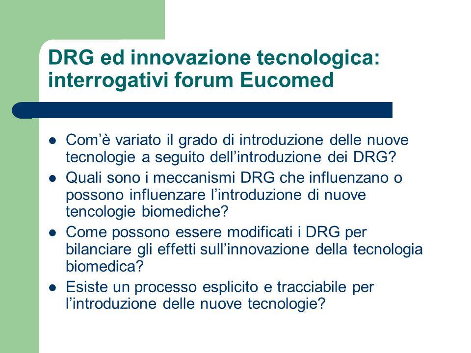 DRG ed innovazione tecnologica: interrogativi forum Eucomed
