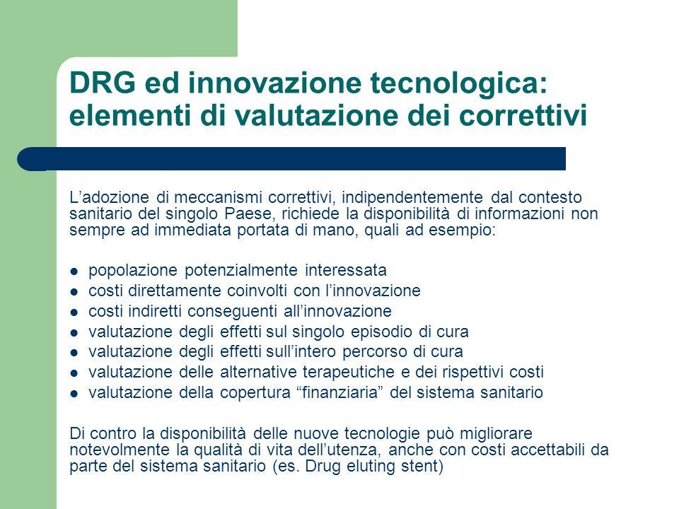 DRG ed innovazione tecnologica: elementi di valutazione dei correttivi