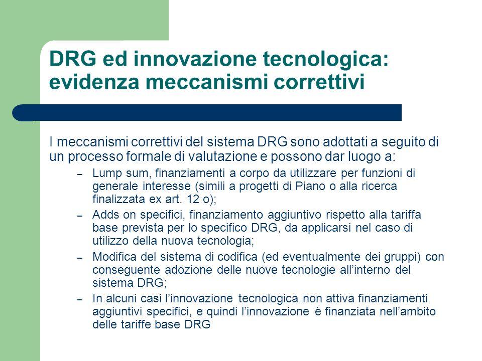 DRG ed innovazione tecnologica: evidenza meccanismi correttivi