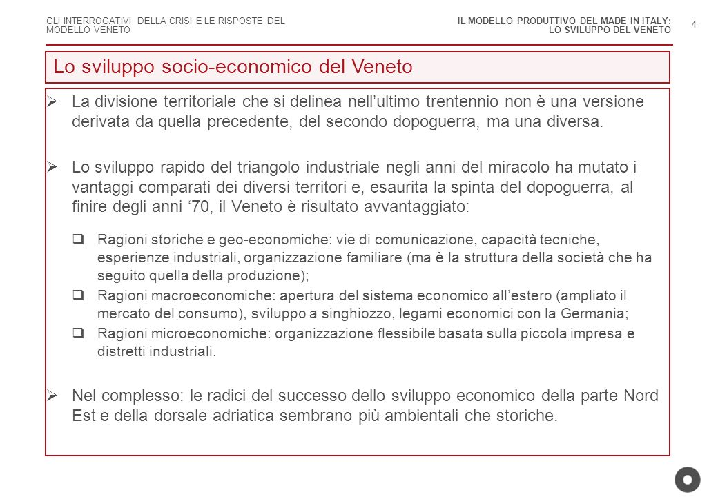 Lo sviluppo socio-economico del Veneto