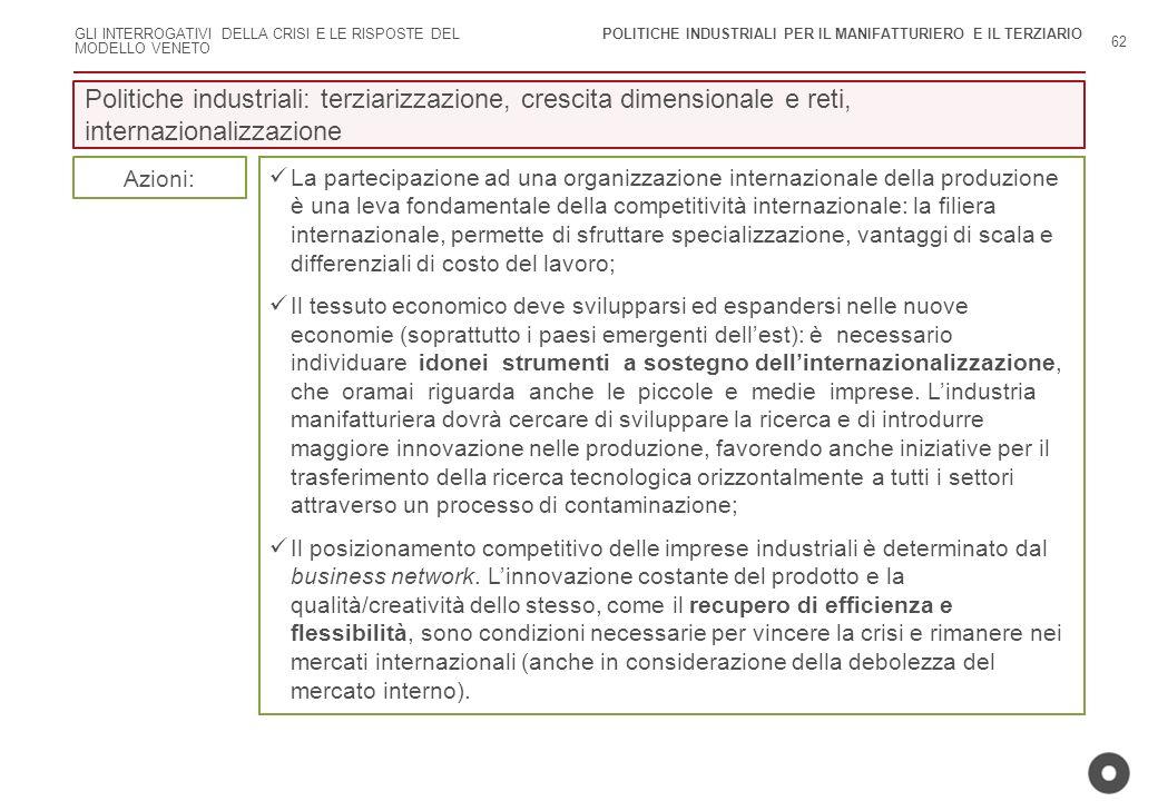 POLITICHE INDUSTRIALI PER IL MANIFATTURIERO E IL TERZIARIO