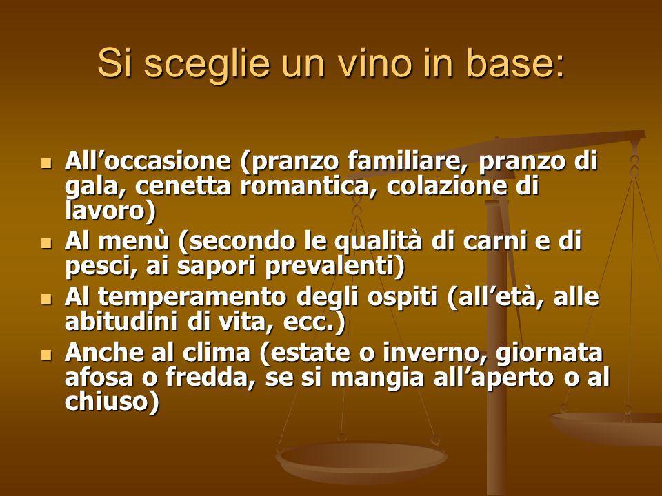 Si sceglie un vino in base: