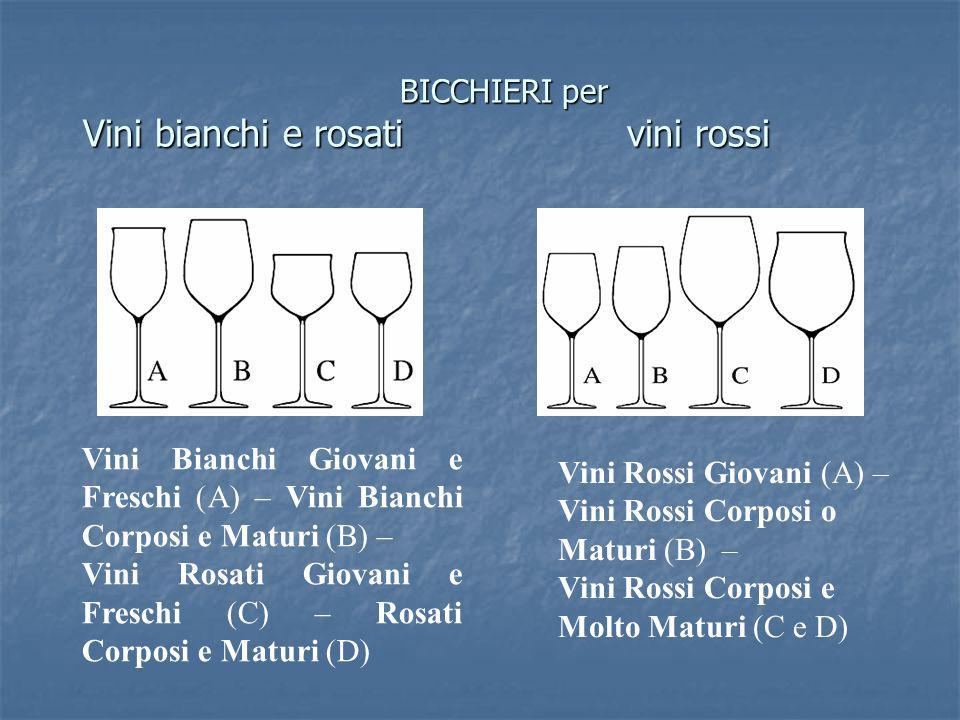 BICCHIERI per Vini bianchi e rosati vini rossi