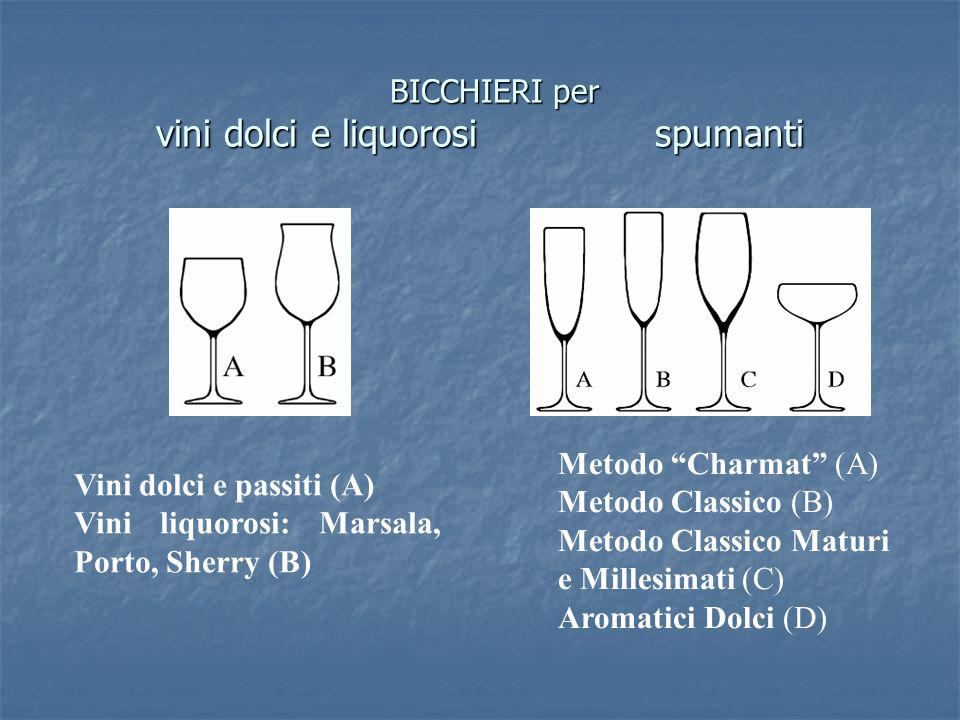BICCHIERI per vini dolci e liquorosi spumanti
