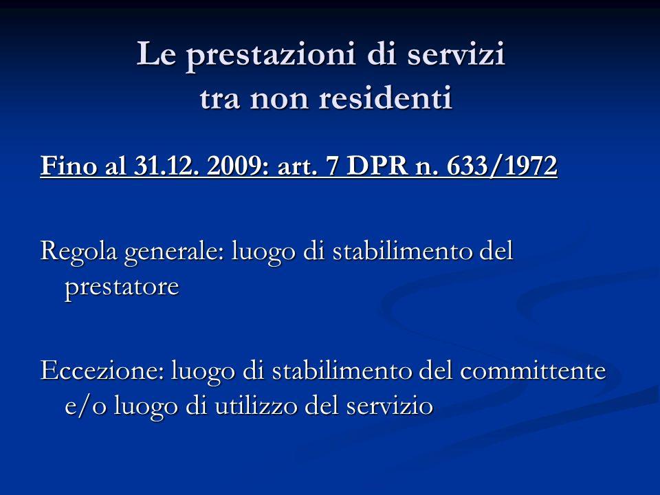 Le prestazioni di servizi tra non residenti