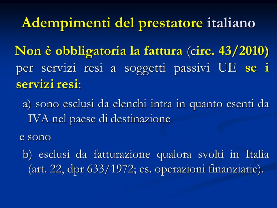 Adempimenti del prestatore italiano