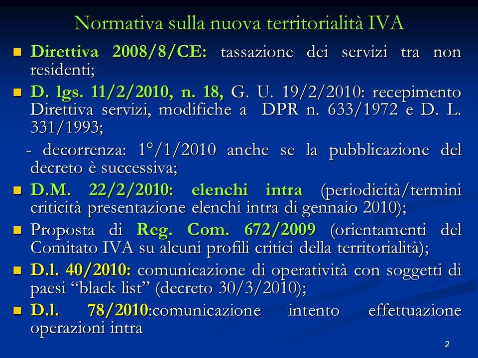 Normativa sulla nuova territorialità IVA
