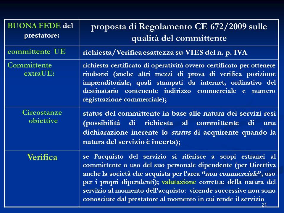proposta di Regolamento CE 672/2009 sulle qualità del committente