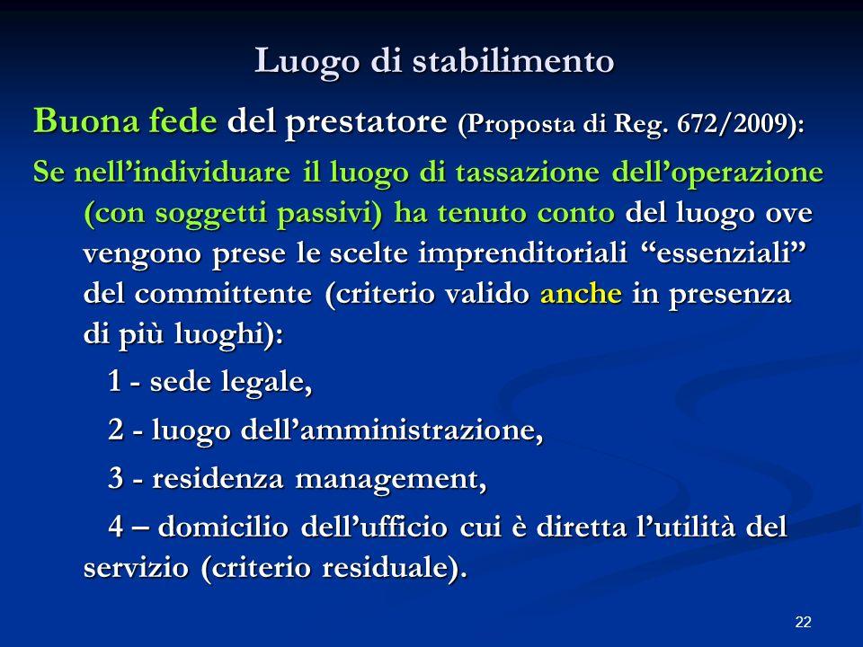 Buona fede del prestatore (Proposta di Reg. 672/2009):