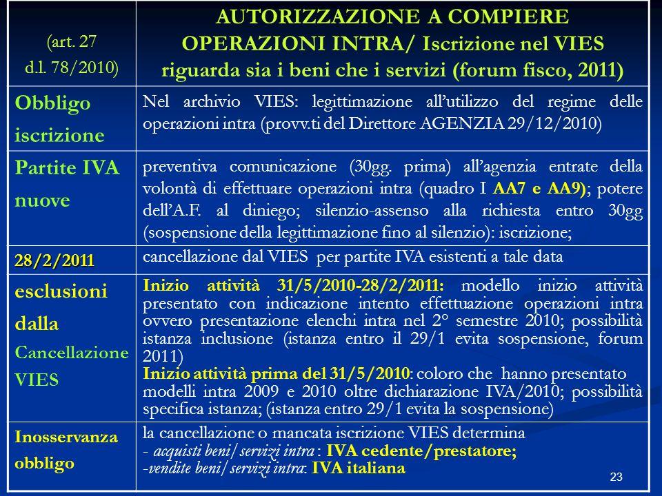 (art. 27 d.l. 78/2010) AUTORIZZAZIONE A COMPIERE OPERAZIONI INTRA/ Iscrizione nel VIES riguarda sia i beni che i servizi (forum fisco, 2011)