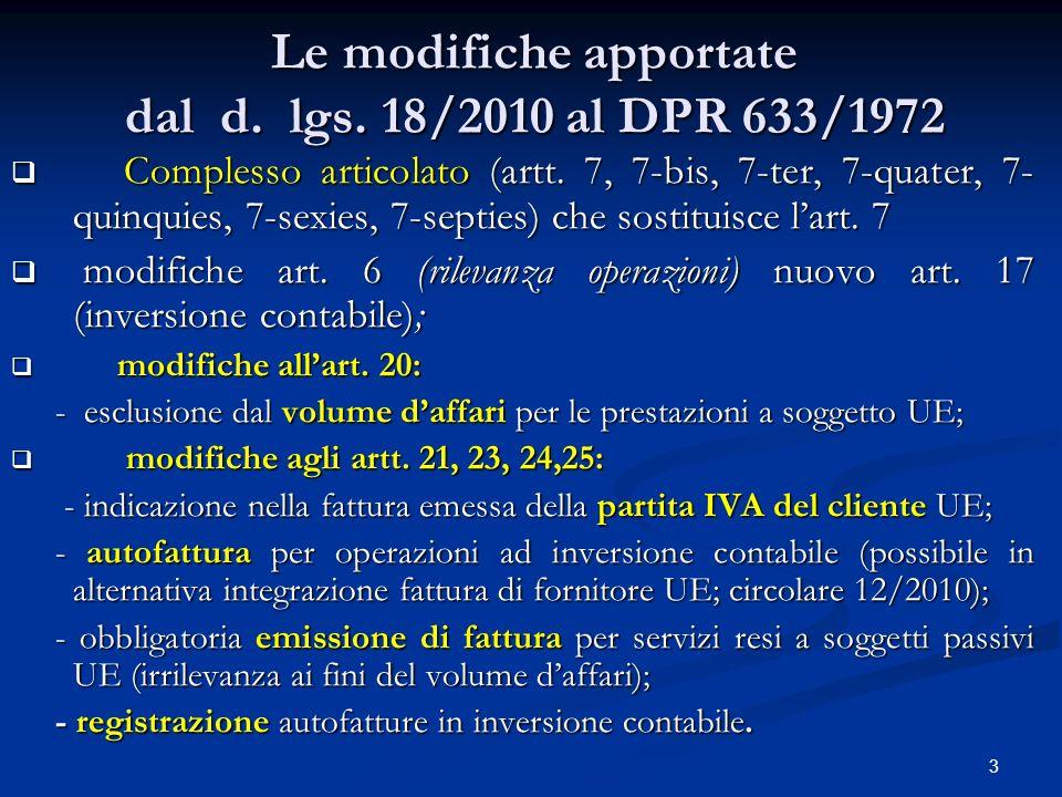 Le modifiche apportate dal d. lgs. 18/2010 al DPR 633/1972