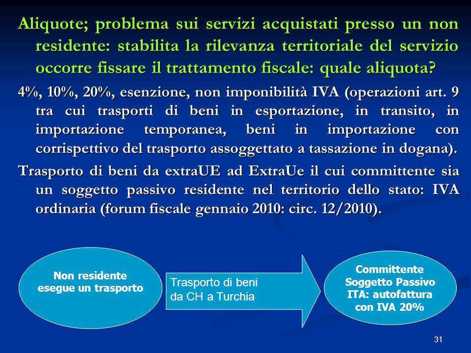 Aliquote; problema sui servizi acquistati presso un non residente: stabilita la rilevanza territoriale del servizio occorre fissare il trattamento fiscale: quale aliquota