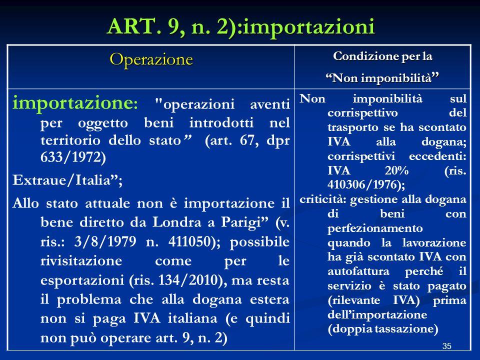 ART. 9, n. 2):importazioni Operazione. Condizione per la. Non imponibilità