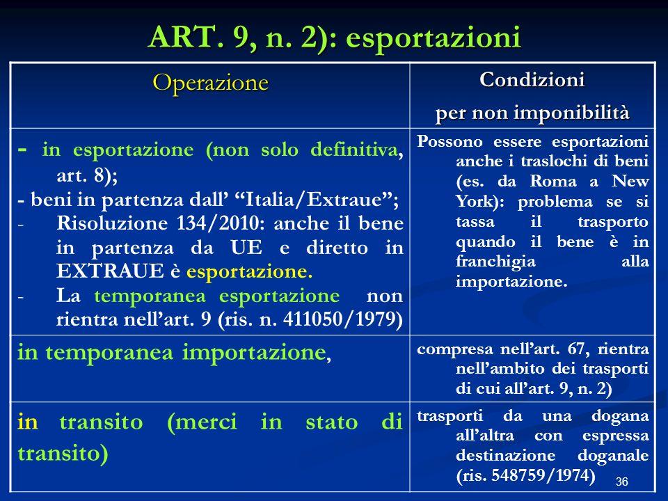 ART. 9, n. 2): esportazioni Operazione. Condizioni. per non imponibilità. - in esportazione (non solo definitiva, art. 8);