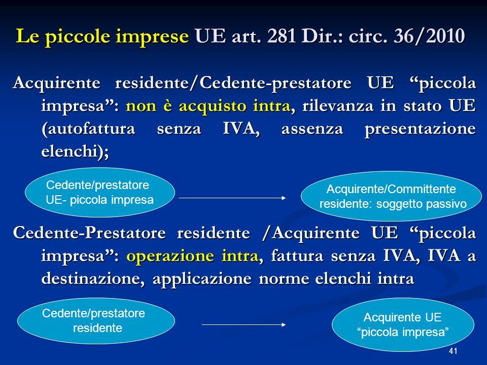 Le piccole imprese UE art. 281 Dir.: circ. 36/2010