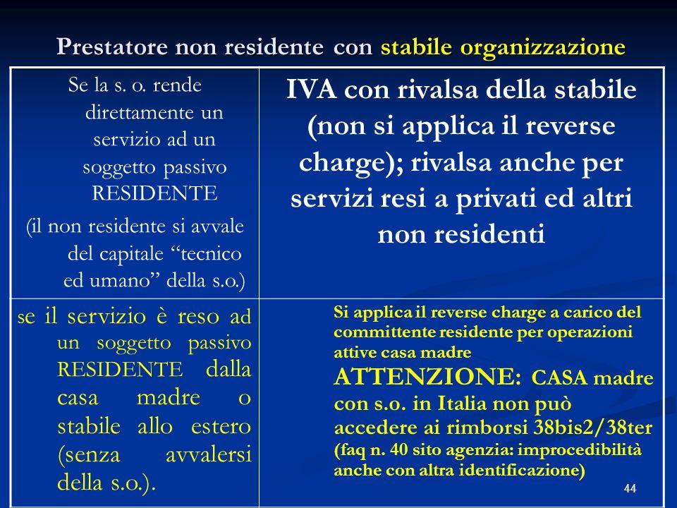 Prestatore non residente con stabile organizzazione