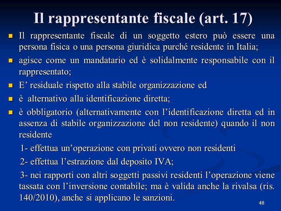 Il rappresentante fiscale (art. 17)