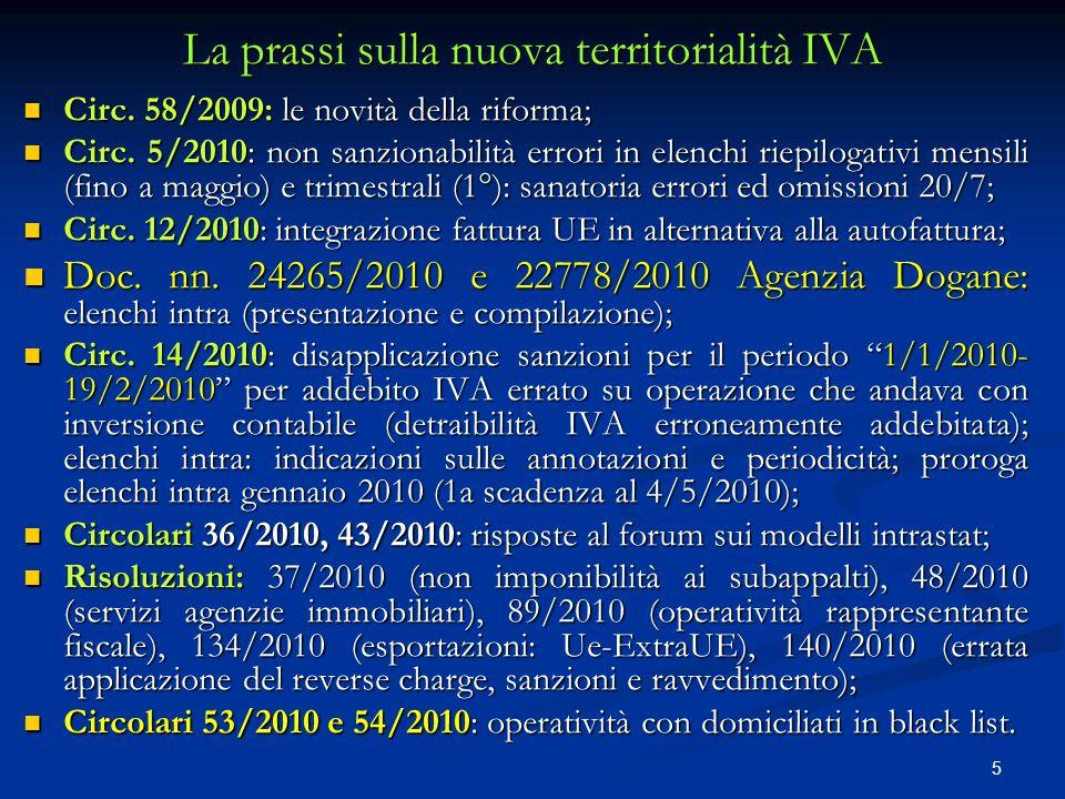 La prassi sulla nuova territorialità IVA