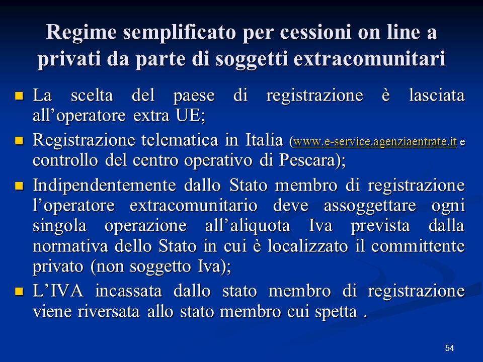 Regime semplificato per cessioni on line a privati da parte di soggetti extracomunitari