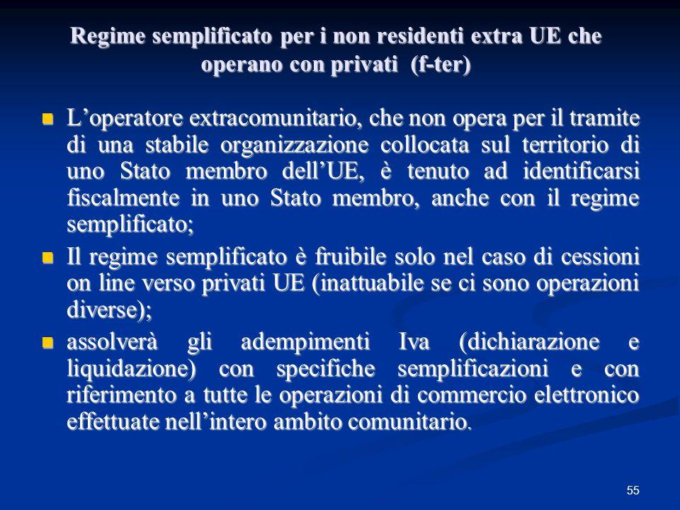 Regime semplificato per i non residenti extra UE che operano con privati (f-ter)
