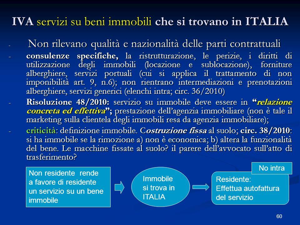 IVA servizi su beni immobili che si trovano in ITALIA