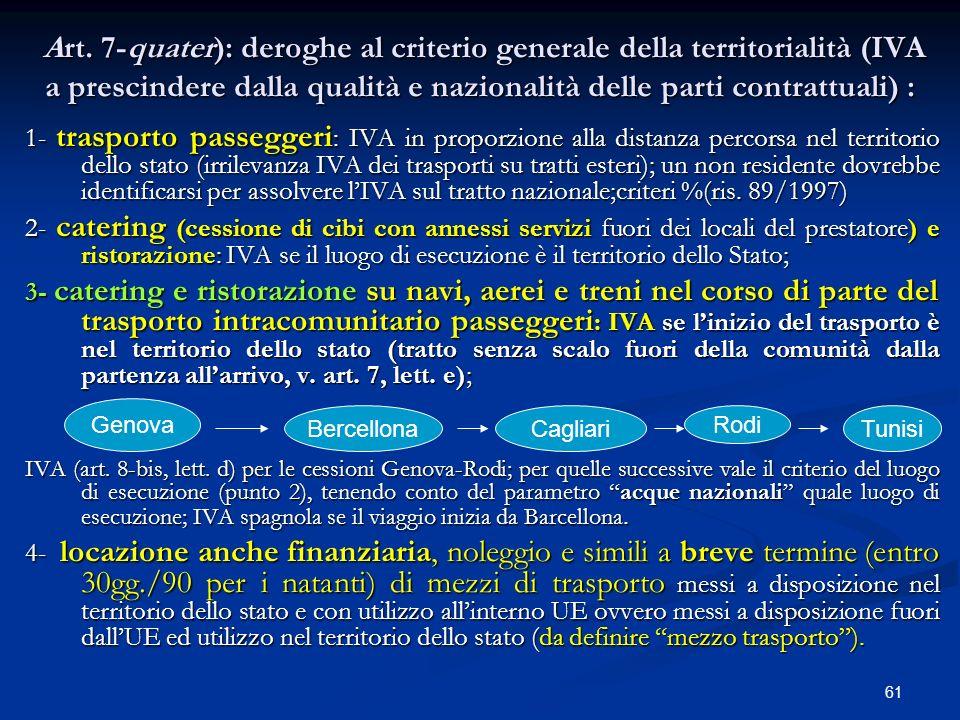 Art. 7-quater): deroghe al criterio generale della territorialità (IVA a prescindere dalla qualità e nazionalità delle parti contrattuali) :