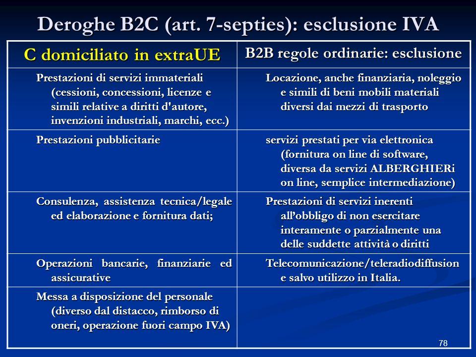 Deroghe B2C (art. 7-septies): esclusione IVA