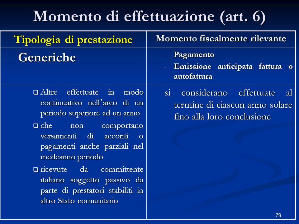 Momento di effettuazione (art. 6)