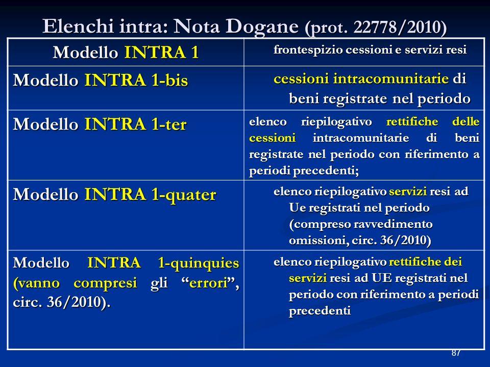 Elenchi intra: Nota Dogane (prot. 22778/2010)