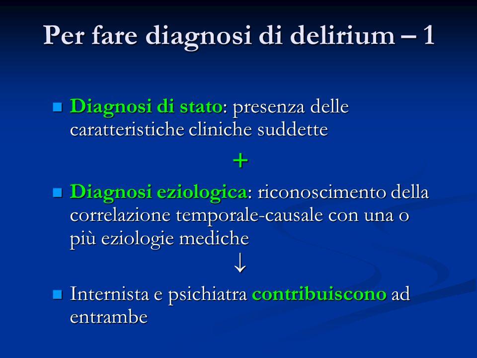 Per fare diagnosi di delirium – 1