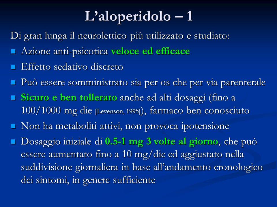 L'aloperidolo – 1 Di gran lunga il neurolettico più utilizzato e studiato: Azione anti-psicotica veloce ed efficace.