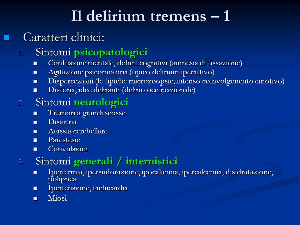 Il delirium tremens – 1 Caratteri clinici: Sintomi psicopatologici