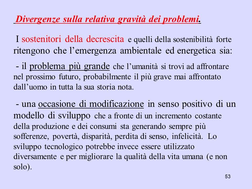 Divergenze sulla relativa gravità dei problemi.