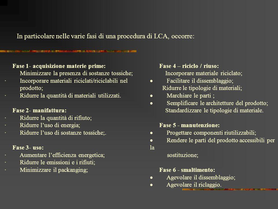 In particolare nelle varie fasi di una procedura di LCA, occorre: