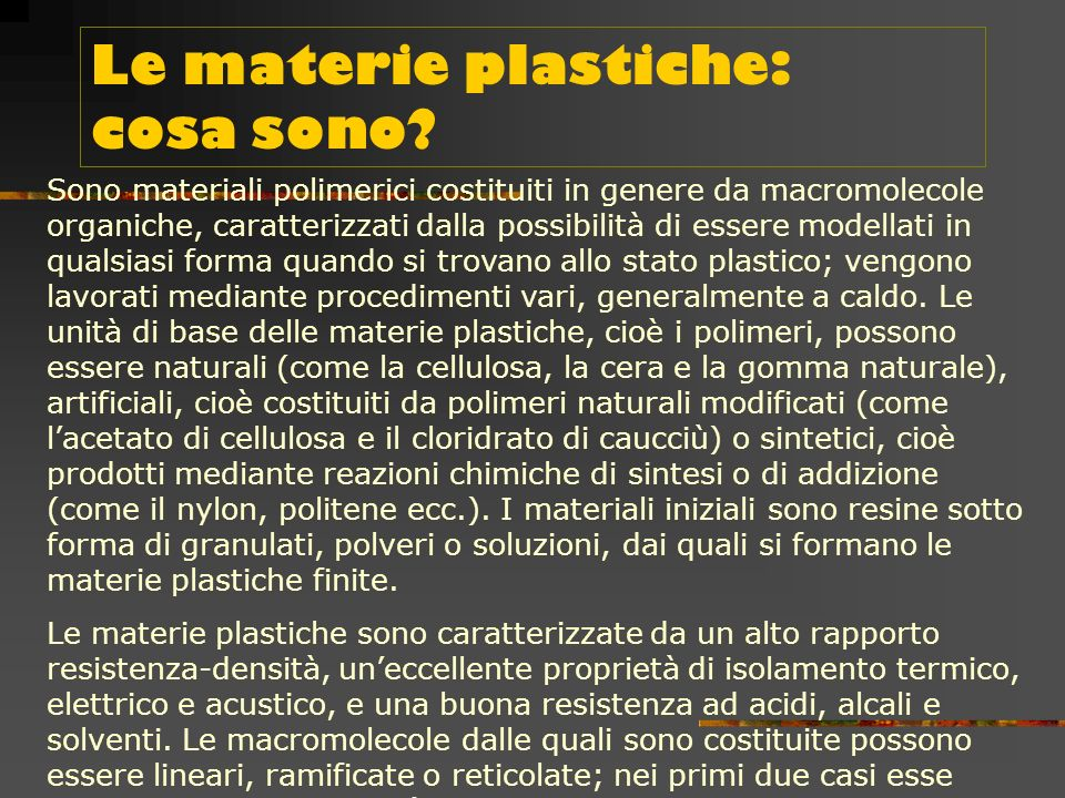 Le materie plastiche: cosa sono