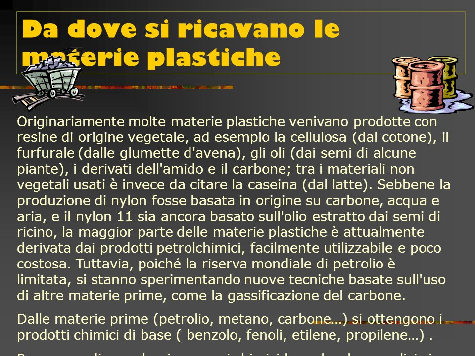 Da dove si ricavano le materie plastiche