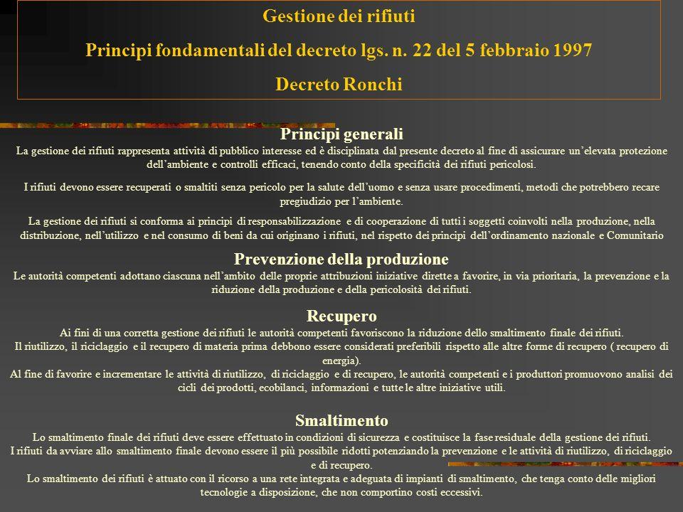 Principi fondamentali del decreto lgs. n. 22 del 5 febbraio 1997