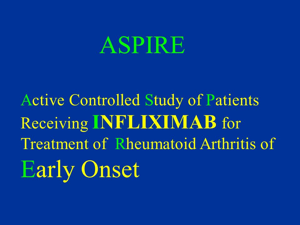 ASPIRE Active Controlled Study of Patients Receiving INFLIXIMAB for Treatment of Rheumatoid Arthritis of Early Onset.