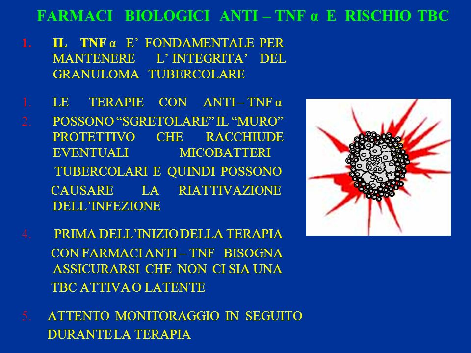FARMACI BIOLOGICI ANTI – TNF α E RISCHIO TBC