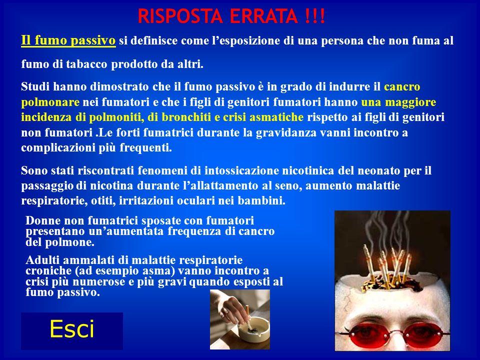 RISPOSTA ERRATA !!! Il fumo passivo si definisce come l'esposizione di una persona che non fuma al.