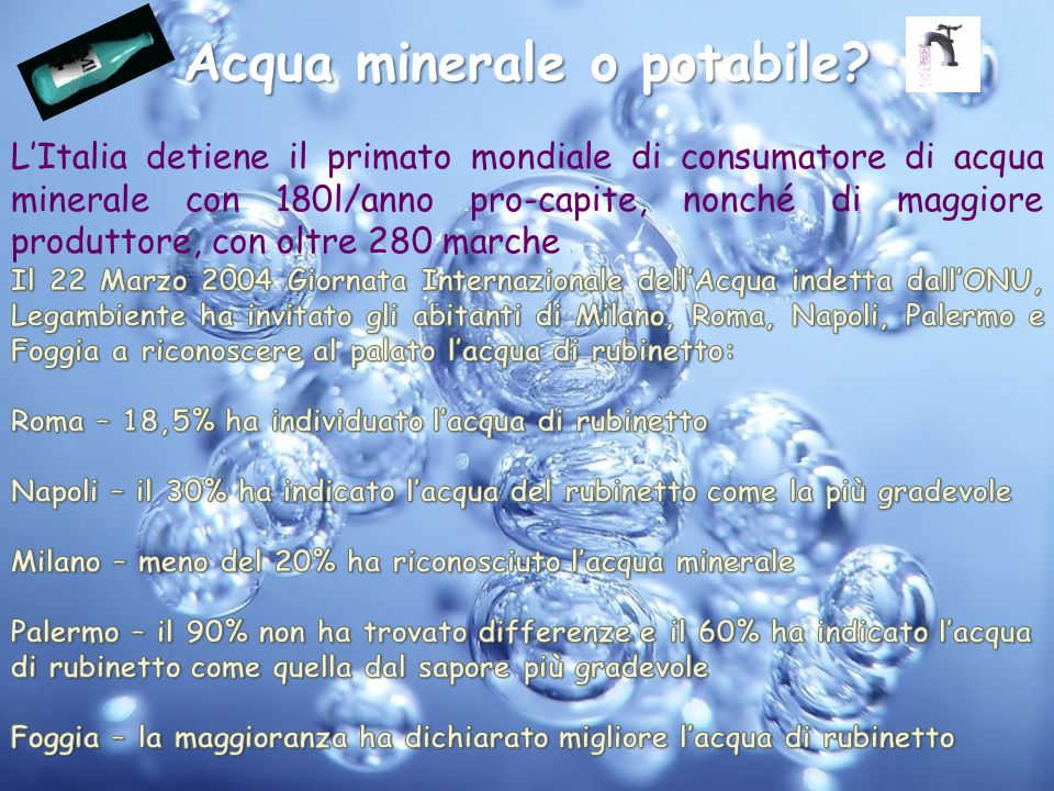 Acqua minerale o potabile