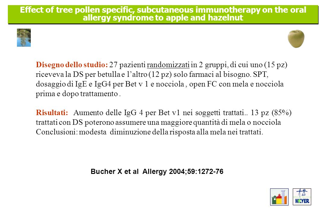 Effect of tree pollen specific, subcutaneous immunotherapy on the oral allergy syndrome to apple and hazelnut